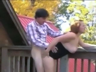Chubby Doggystyle  Outdoor Redhead Outdoor