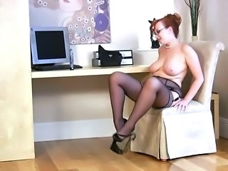 Chubby Glasses  Natural Redhead  Stockings Chubby Ass Stockings Glasses Busty