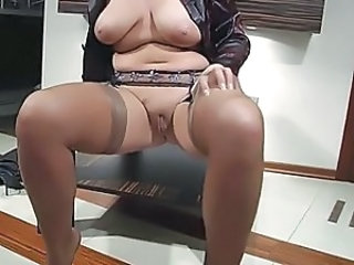 Chubby Mom Natural Pussy  Shaved Stockings Tits Mom Stockings Nylon