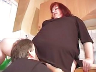 Clothed Licking Mature Older Redhead  Kitchen Mature