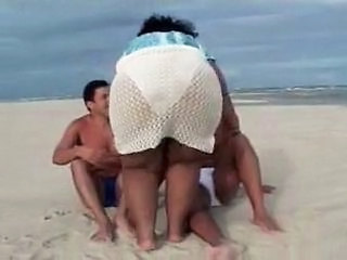 Ass  Beach Mature Outdoor Threesome