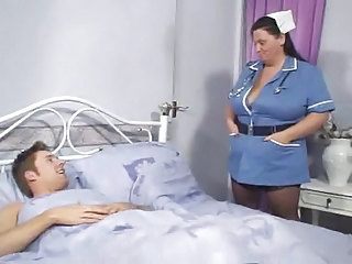 Big Tits  Mom Natural Nurse Old and Young Uniform
