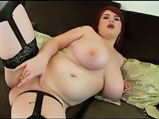 Big Tits Masturbating  Natural Redhead Boobs Stockings Giant