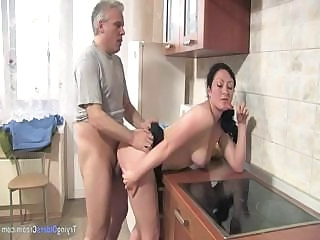 Chubby Daddy Daughter Doggystyle Kitchen Old and Young Teen