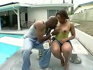 Chubby Ebony Licking  Natural Nipples Outdoor Pool