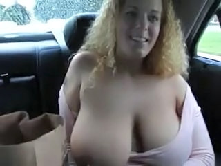 Big Tits Car  Natural  Stripper Boobs