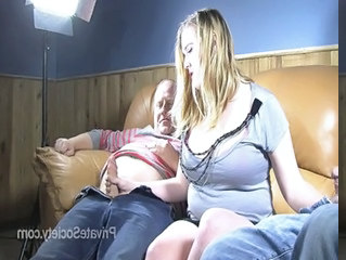 Chubby Daddy Daughter Family Handjob Old and Young Threesome