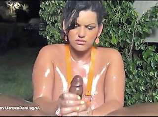 Handjob Interracial  Oiled Outdoor Domination