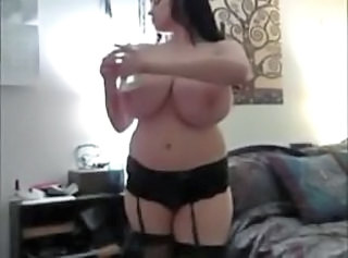 Amateur Big Tits Chubby Homemade  Natural Smoking Wife Monster