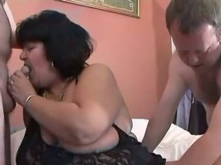Blowjob British European Mature Older Small cock Threesome Wife British