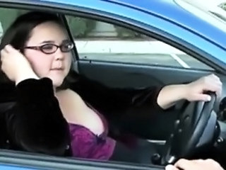 Amateur  Car Glasses Public Teen German