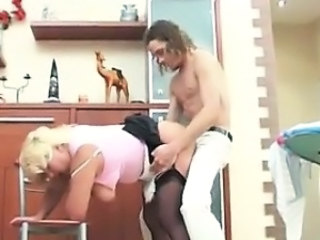 Chubby Clothed Doggystyle Kitchen Maid Mature Mom Old and Young Russian Stockings